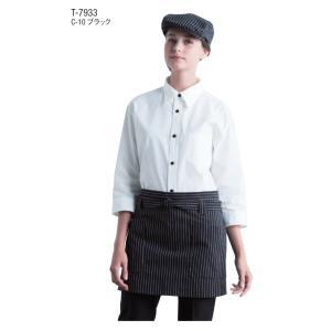 エプロン ショートエプロン 先染めストライプ T-7933 チトセ ベーカーリー フード レストラン カフェ ユニフォーム|dairyu22