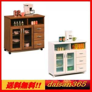 カントリー調 キッチンカウンター 90cm バニラ ホワイト・ブラウン レンジ台 カップボード 収納庫|daisan-store