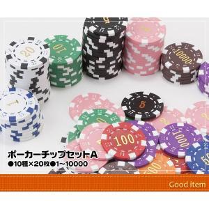 ポーカーチップ コインセットA 10種×20枚 1〜10000 カジノゲーム PC-2314Y daisei120
