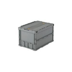 トラスコ中山  薄型折りたたみコンテナ 50Lロックフタ付 グレー TR-C50B GY [A180302]|daishinshop