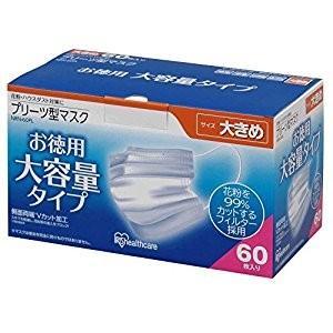 アイリスオーヤマ IRIS プリーツ型 マスク 大きめ 60枚入 NRN-60PL [D011307]|daishinshop