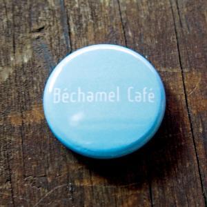 カフェ シンプル カジュアル バッジ 英字 / Bechamel Cafe ( ベシャメルカフェ ) オリジナル 缶バッジ 25mm( デニム )|daiwa-kigyo