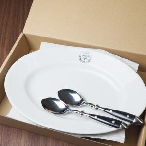ダイヤモンドカリー カレー皿  スプーン 各2個セット / カレー スパゲッティ おしゃれ 皿 お皿 パスタ皿 食器 白 楕円皿 お取り寄せ ご当地|daiwa-kigyo