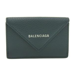 バレンシアガ ペーパーミニウォレット 三つ折り財布 グリーン