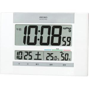 セイコー クロック 掛け時計 置き時計 兼用 電波 デジタル カレンダー 快適度 温度 湿度 表示 薄型 白 パール SQ429W SEIKO|daiyu8-y