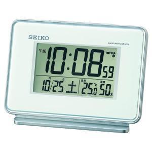 セイコー クロック 目覚まし時計 電波 デジタル 2チャンネル アラーム カレンダー 温度 湿度 表示 白 SQ767W SEIKO|daiyu8-y