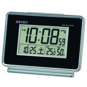 セイコー クロック 目覚まし時計 電波 デジタル 2チャンネル アラーム カレンダー 温度 湿度 表示 黒 SQ767K SEIKO|daiyu8-y