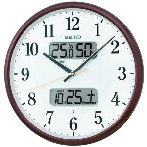 セイコークロック 掛け時計 茶メタリック 直径35.0x5.2cm 電波 アナログ カレンダー 温度 湿度 表示 KX383B|daiyu8-y