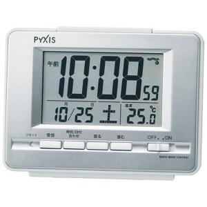 セイコー クロック 目覚まし時計 電波 デジタル カレンダー 温度 表示 PYXIS ピクシス 銀色 メタリック NR535W SEIKO|daiyu8-y