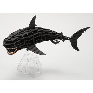 立体 ペーパークラフト ウラノ 3Dペーパーパズル DXホオジロザメ(MOVE)ブラック 専用台座付き (送料無料・小型便にて配送)|dambool-crafts