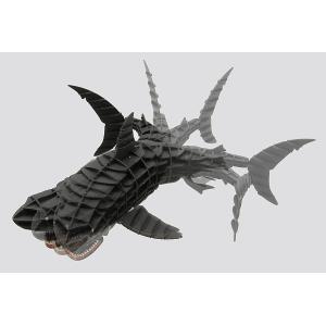 立体 ペーパークラフト ウラノ 3Dペーパーパズル DXホオジロザメ(MOVE)ブラック 専用台座付き (送料¥300 小型便配送可)|dambool-crafts|02