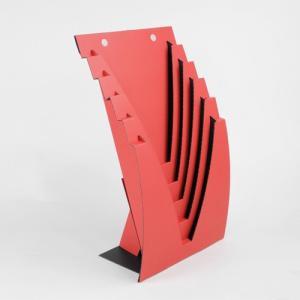 収納 インテリア 本 チラシ A4 壁掛けOK  ダンボール ブックスタンド JAVARACK J (レッド)|dambool-crafts