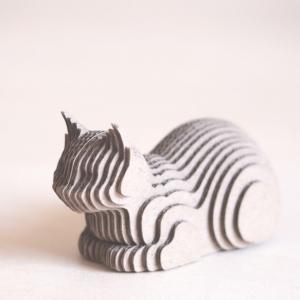 ペーパークラフト ダンボール  動物 猫 段々猫 catloaf(送料無料・小型便にて配送)|dambool-crafts