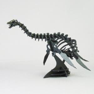 立体 ペーパークラフト ウラノ 恐竜 3Dペーパーパズル フタバスズキリュウ(ブラック)【台座付き】(送料無料・小型便にて配送)|dambool-crafts