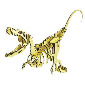 立体 恐竜 ペーパークラフト パズル 3Dペーパーパズル NEW-ヴェロキラプトル ゴールド(送料無料・小型便にて配送)|dambool-crafts