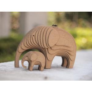 ペーパークラフト ダンボール  動物 ゾウ 段々動物園 ぞうの親子(送料無料・小型便にて配送)|dambool-crafts