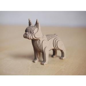 ペーパークラフト ダンボール  動物 フレンチブルドッグ 段々犬 French Bulldog(送料¥300 小型便配送可)|dambool-crafts