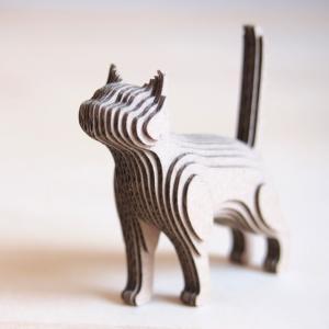 ペーパークラフト ダンボール  動物 猫 段々猫 greeting(送料無料・小型便にて配送)|dambool-crafts