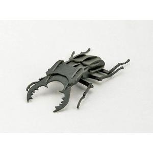 立体 ペーパークラフト ウラノ 3Dペーパーパズル クワガタムシ(ブラック) 【台座付き】  (送料¥300 小型便配送可)|dambool-crafts