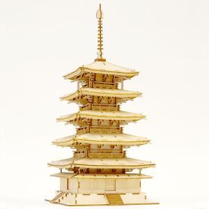 立体パズル 木製パズル プレゼント 父の日 ホビー 木のおもちゃ オススメ 建築模型 kigumi キグミ 五重塔|dambool-crafts