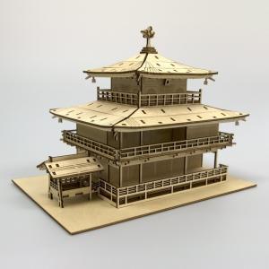 立体パズル 木製パズル プレゼント 父の日 ホビー 木のおもちゃ オススメ 建築模型 kigumi キグミ 金閣寺(送料無料・小型便にて配送)|dambool-crafts