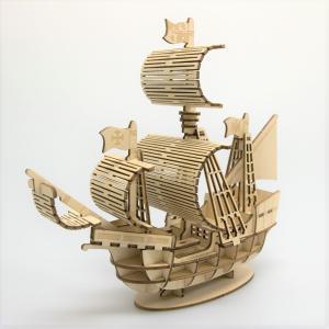 立体パズル 木製パズル プレゼント 父の日 ホビー 木のおもちゃ オススメ 建築模型 kigumi キグミ 帆船(送料無料・小型便にて配送)|dambool-crafts