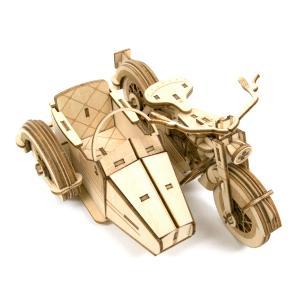 立体パズル 木製パズル プレゼント 父の日 ホビー 木のおもちゃ 建築模型 kigumi キグミ クラシックサイドカー(送料無料・小型便にて配送)|dambool-crafts