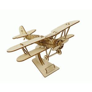 立体パズル 木製パズル プレゼント 父の日 ホビー 木のおもちゃ オススメ 建築模型 kigumi キグミ 複葉機(送料無料・小型便にて配送)|dambool-crafts