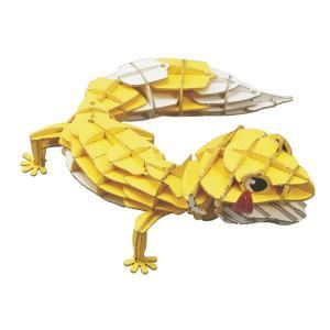 立体 ペーパークラフト パズル ウラノ 3Dペーパーパズル DXレオパードゲッコー(MOVE)黄 (送料無料・小型便にて配送)|dambool-crafts