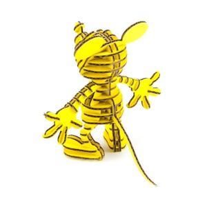 ペーパークラフト  ダンボール  ディスニー  FLATS  4D ART PUZZLE(フラッツ4Dアートパズル) ミッキーマウス ルミナイエロー(送料¥300小型便配送可) dambool-crafts 02