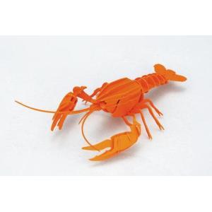 立体 ペーパークラフト ウラノ 3Dペーパーパズル アメリカザリガニ(オレンジ)【台座付き】(送料無料・小型便にて配送)|dambool-crafts