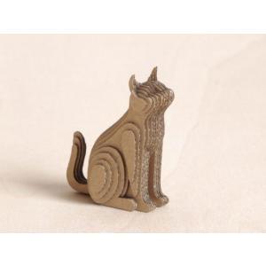 ペーパークラフト ダンボール  動物 猫 段々猫 sitting-b(送料¥300 小型便配送可)|dambool-crafts