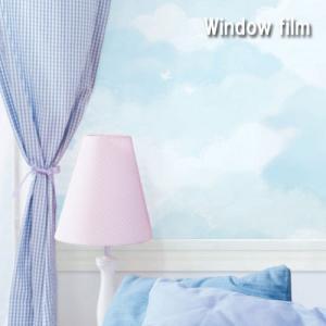 雲 窓 ガラスフィルム 目隠し シート フィルム 巾100cm X 50cm おしゃれ  インテリア 窓ガラス ウォールステッカー UVカット 目隠しフィルム 青い|dami