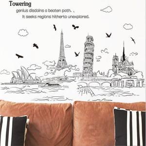 ウォールステッカー シール式 モノクロ Towering インテリア wall sticker 壁紙 北欧 Paris 飾り 内装 カッティングシート DIY リフォーム  60cm×90cm|dami
