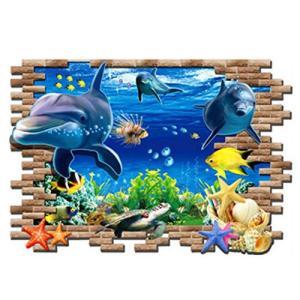 ウォールステッカー シール式 海 魚 熱帯魚 インテリア wall sticker 壁紙 飾り 内装 カッティングシート DIY リフォーム イルカ|dami