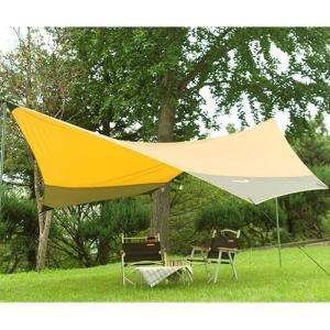 タープ テント ウッドブラウン 収納ケース タープポール ロープ ペグ付き タープテント 440 x 410cm 日よけ UVカット 高耐水加工 アウトドア キャンプ用品 dami