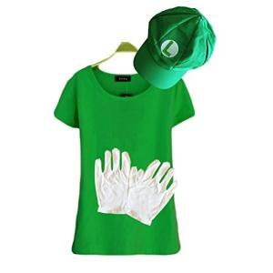 ルイージにすぐなれちゃう半袖Tシャツ、帽子、手袋のセットです。  お手持ちのサロペットと合わせるだけ...