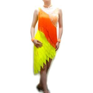 社交ダンス衣装(S) 石付きフリンジラテンドレス オレンジ×イエロー 10945 白樺ドレス|dance-grace-nagano