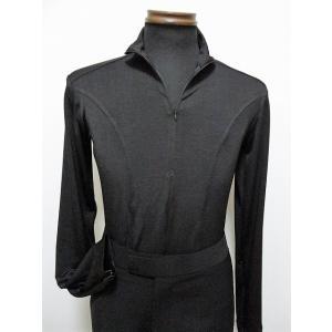 メンズラテンシャツ(S) ジップアップ ブラック ?16M002 白樺ドレス dance-grace-nagano