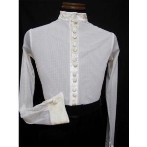 メンズラテンシャツ(M) スタンドネック ホワイト 16M003 白樺ドレス dance-grace-nagano