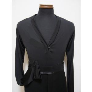 メンズラテンシャツ(M) スッキリシルエットのショールカラー ブラック 白樺ドレス dance-grace-nagano