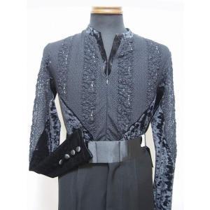 メンズラテンシャツ(M) レース×クラッシュベロア ブラック 白樺ドレス dance-grace-nagano