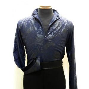 ジップアップシャツ(M/L) ストレッチ素材 ペイズリー No.25108 ジョアンスポーツ dance-grace-nagano