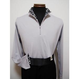 ジップアップシャツ(L) No.261602 JOAN  アニマルプリント切替 グレー ストレッチ素材 dance-grace-nagano