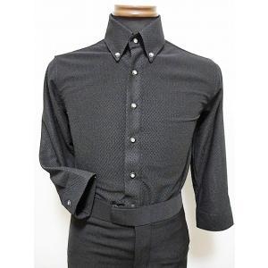 パーティーシャツ (L) TT6003 ブラック 清涼素材 ストレッチ 七分袖 スリムタイプ 社交ダンス メンズ 衣装 dance-grace-nagano