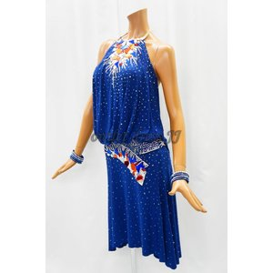 社交ダンス・ダンス衣装 インポート品 ヨーロッパ製 L362 ネイビー Mサイズ|dancedress-jj