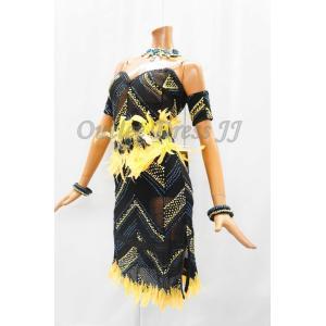 社交ダンス・ダンス衣装 インポート品 ヨーロッパ製 L0371 ブラック×イエロー羽 Mサイズ|dancedress-jj