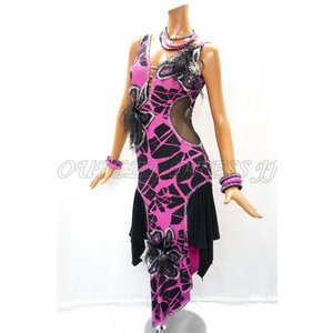 社交ダンス・ダンス衣装 インポート品 ヨーロッパ製 L384 ブラック×ピンク花 Mサイズ|dancedress-jj