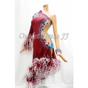 社交ダンス・ダンス衣装 インポート品 ヨーロッパ製 L387 バーガンディ羽 Mサイズ|dancedress-jj