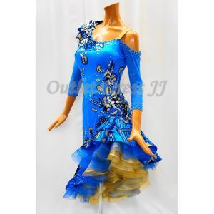 社交ダンス・ダンス衣装 インポート品 ヨーロッパ製 L393  オーシャンブルー柄|dancedress-jj